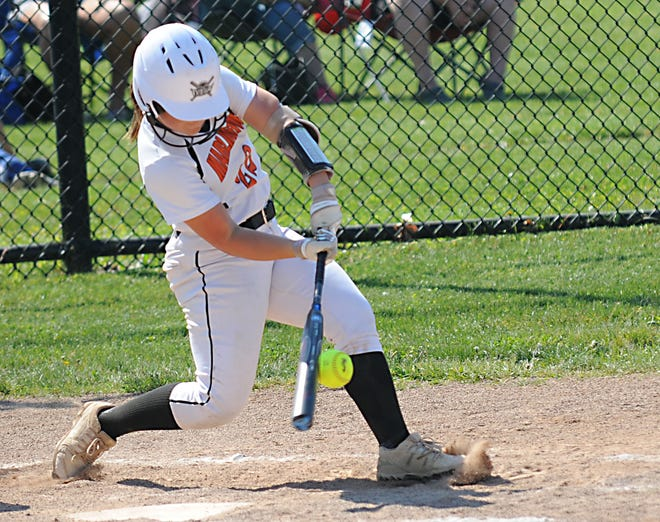 Marlington's Audrey Miller connects on a pitch in a Division II tournament game against Girard Tuesday, May 18, 2021 at Hubbard High School.