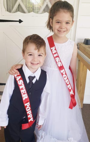 Ian and Audrie Shirley have been chosen to represent Harry Higgins Post 88 of the American Legion as poppy representatives in the Ashland Memorial Day activities May 31. They will place poppy bouquets at the monument at Ashland Cemetery during the service and ride in the parade. They are the children of Jesy Boales and Jason Shirley and the grandchildren of Peggy and Keith Boales. Ian attends Park Street School and Audrie attends St. Edward School. Ian is a member of Sons of the American Legion Squadron 88 and Audrie is a member of the junior auxiliary of American Legion Auxiliary Unit 88.
