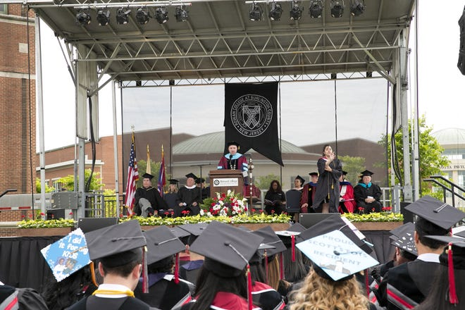 RCBC President Michael Cioce addresses the crowd during the school's last in-person graduation ceremony in 2019.