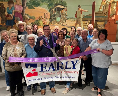 The Early Chamber of Commerce held a ribbon cutting for the Brown County Museum of History, 209 N Broadway in  Brownwood, The museum will open its door to the public for the first time in more than a year from 2:30-5:30 p.m. Saturday, May 22 for The Great Sneak Peak. The advance opening will unveil new exhibits and a revitalized interior. Tickets are on sale at www.browncountymuseum.org or at the museum, Early Visitors & Events Center, Lehnis Railroad Museum & Visitor Center or Wendlee Broadcasting. The museum will begin regular business hours Thursday, May 27.   For more information call museum director Wanda Furgason at 325-641-1926 or visit their website or Facebook page.