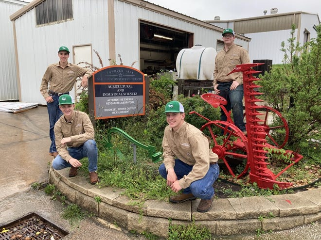 From left, Bangs High School ag mechanics team members Logan Bishop, Jackson Light, Keygan Pitts and Robert Blakeley are pictured as Sam Houston State University the day before the state competition.