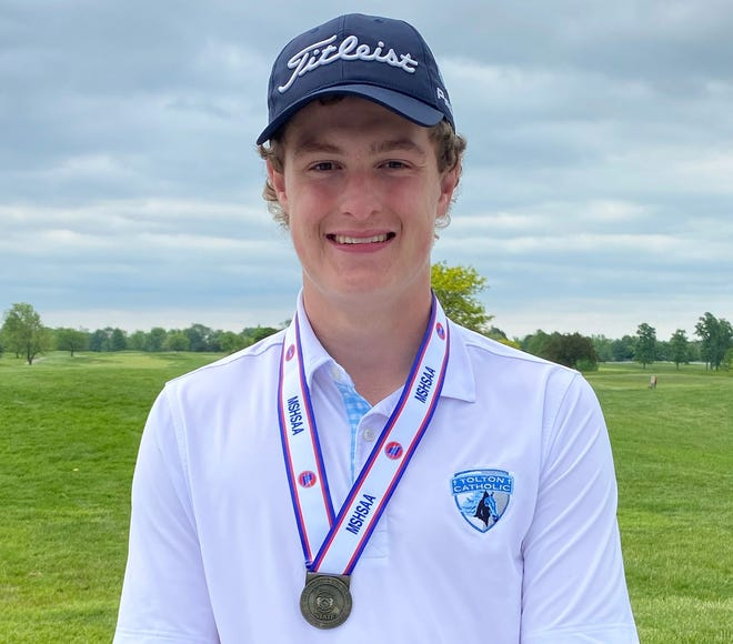 Tolton junior Christian Rischer poses for a photo after winning the individual title in the Class 3 boys state golf championship Tuesday at Crowne Point Golf Club in Farmington.