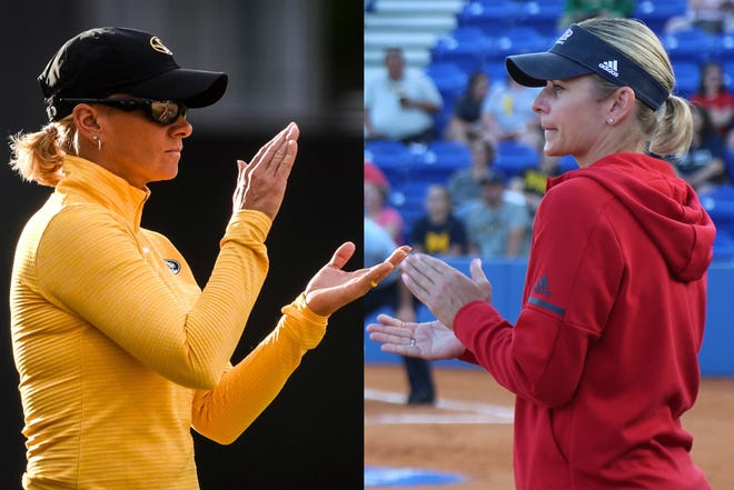 Missouri coach Larissa Anderson, left, and Illinois-Chicago coach Lynn Curylo will face off in the Columbia NCAA softball regional Friday at Mizzou Softball Stadium.