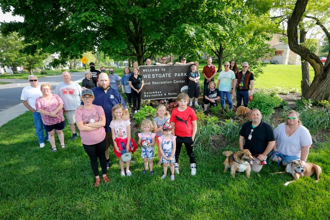 Members of the Westgate Watch Facebook group, which includes more than 650 people, gather at Westgate Park. In addition to being neighborly lookouts, the neighborhood watch group reports criminal activity among its members who share security video and evidence of crimes among themselves and with police.