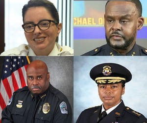 The four finalists for Columbus police chief are, clockwise from top left, Ivonne Roman, Avery Moore, Elaine Bryant, Derrick Diggs.