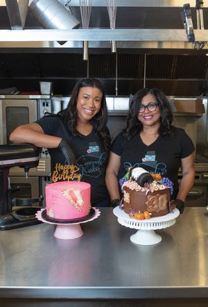 Kennedy Goolsby, left, with her mother, Adrian Jones, owner of Kennedy's Kakes