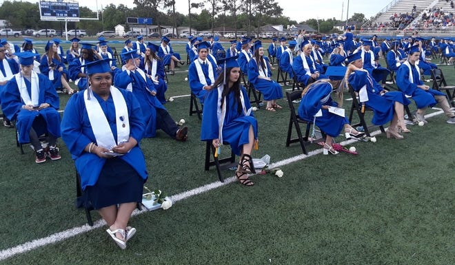 South Lafourche High School held its graduation ceremony Tuesday night at the school's stadium in Galliano.