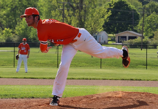 Meadowbrook's Austin Fox (3) delivers a pitch during Tuesday's 5-0 win over Beaver Local in the  Division II sectional championship game in Byesville. Fox tossed a two-hit shutout with 12 Ks to pick up the pitching win and improve to 8-0 on the year.