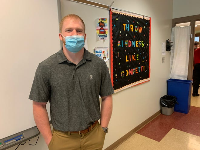 Zach Fitzgerald, a 2015 graduate of Orrville High School, accepted one of the long-term substitute teacher positions in the Orrville City School District while he continued to look for a job in his chosen field of mechanical engineering.