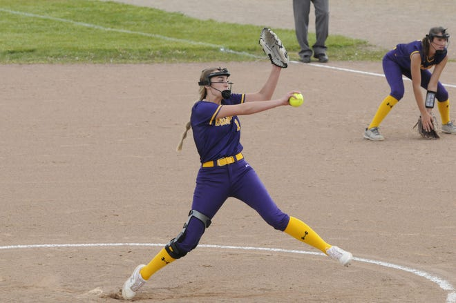 Blissfield junior Karis Weirich (1) delivers a pitch during game one of the Royals' LCAA doubleheader at Onsted on Tuesday.