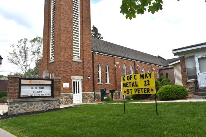 A sign out front of Blissfield's St. Peter the Apostle Light of Christ Catholic Parish, 309 S. Lane St., advertises Saturday's upcoming scrap metal fundraiser drive, as hosted by the Knights of Columbus Council No. 7832. The drive will take place from 8 a.m. to noon in the rear parking lot of the church.