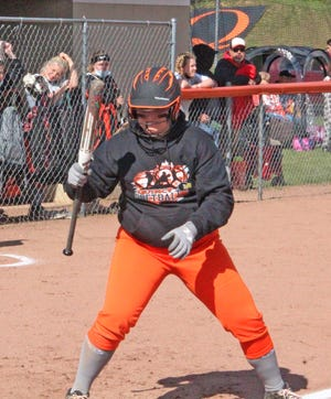 Quincy's McKynna Connin, shown here watching a pitch in early season action, secured the walk-off win for the Orioles versus Jonesville with an RBI single Tuesday night