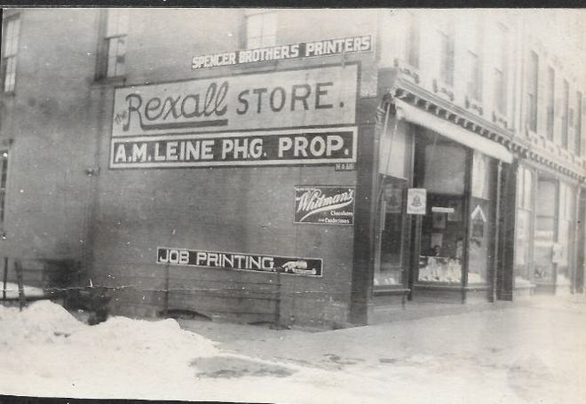 Pictured is Leine's drug store at the corner of 7th and Main, where Parker's Pharmacy was in later years. (Photo courtesy WCHS)