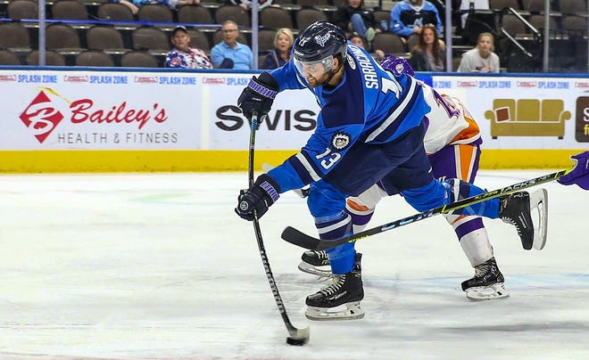 Jacksonville Icemen forward Nick Saracino (13) scores a goal during the first period of an ECHL hockey game against the Orlando Solar Bears at Veterans Memorial Arena in Jacksonville, Fla., Tuesday, May 18, 2021.  [Gary Lloyd McCullough/For the Jacksonville Icemen]