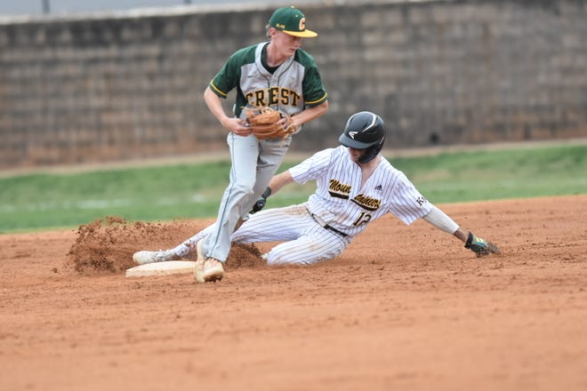 A Kings Mountain runner is forced out at second base in Tuesday's high school baseball game against Crest.