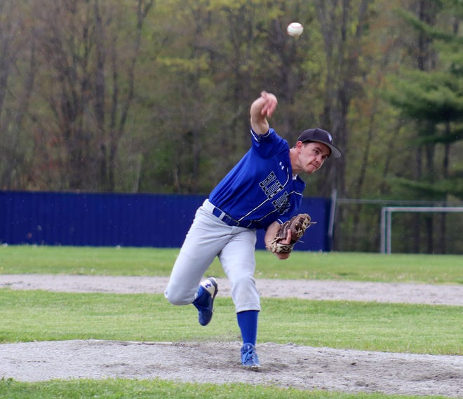 Murdock senior Jack Polcari delivers a pitch to the plate during the Blue Devils' game against rival Narragansett, Monday, at Arthur L. Stuart Memorial Field in Baldwinville.