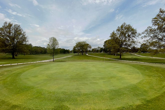 A glimpse of the 12th green at Bunker Links Municipal Golf Course in Galesburg, as seen Wednesday afternoon.