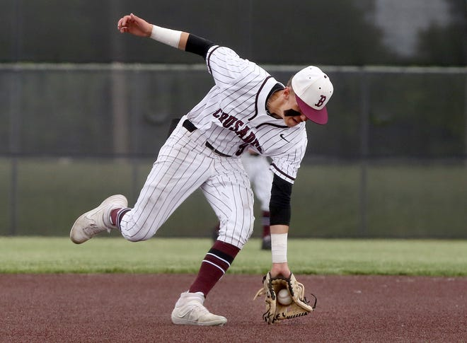 Buhler's Bradley Neill (9) stops the ball against Rose Hill during their Class 4A regional semi-final game Tuesday afternoon. Buhler defeated Rose Hill 3-2.