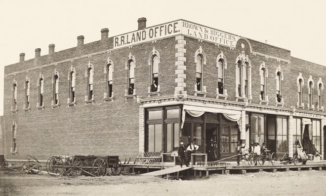 In 1872, two of Hutchinson's earliest settlers moved to Hutch and teamed up to open the Brown & Bigger Land Office.