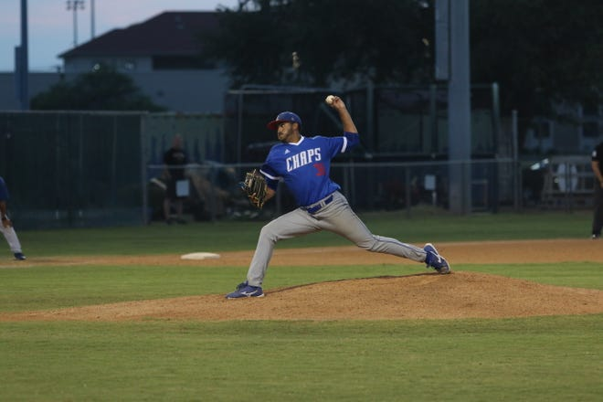Lubbock Christian University lefthander Armando Valle delivers a pitch during the Chaparrals' first-round series at Texas A&M-Kingsville. Valle allowed one run in six innings of a 9-5 loss on Friday, and LCU rallied to win the series on Saturday.