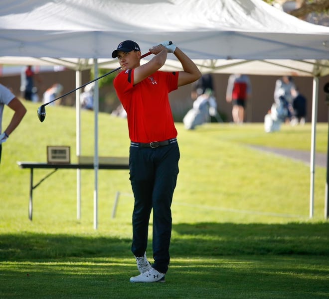Texas Tech golfer Ludvig Aberg hits a drive during Wednesday's final round of the NCAA Albuquerque Regional. Aberg tied for fourth in the tournament at 9 under par, and the Red Raiders won the team title.