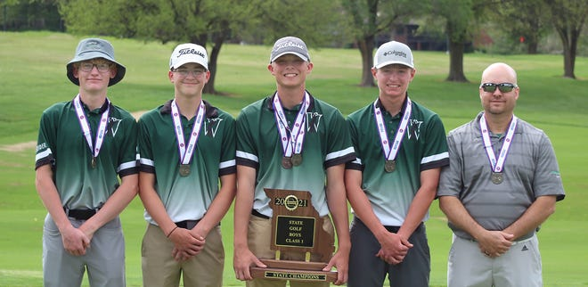 After finishing second in the last two MSHSAA Class 1 boys state golf championships as a team, the 2021 Westran Hornets were crowned team champions at the 36-hole event held May 17-18 at Fremont Hills Golf Course in Nixa. Westran dominated the field with its two-day scorer of 666, which was a healthy 36 strokes better than second place South Harrison High School.  State champion team members are Aidan Seiders, Logan Bain, Caleb Nagel, Colin Brandow and Westran head coach Jeff Schleicher.