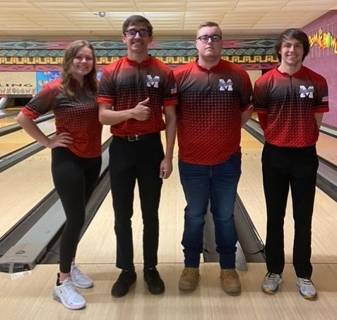 Monroe High students (left to right) Nataleigh Eagle, John Zureki, Nick Walters and Jordan Killingback set a state record for Mixed A team handicapped series in the 39th annual Michigan State USBC Youth Tournament last month in Westland.