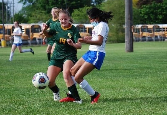 Flat Rock's Breeya Kyrk controls the ball during an 8-0 victory over Lincoln Park Tuesday.