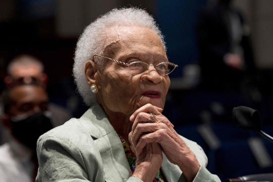 """Viola Fletcher, the oldest living survivor of the Tulsa Race Massacre, testifies before the House Judiciary Subcommittee on the Constitution, Civil Rights and Civil Liberties on """"Continuing Injustice: The Centennial of the Tulsa-Greenwood Race Massacre"""" on Capitol Hill in Washington, D.C., on May 19, 2021."""