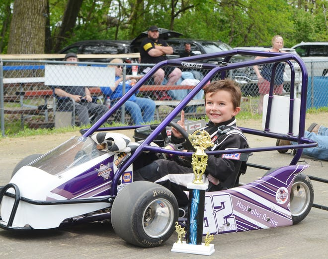 Canon Stipp of Fairbury, the son of Modified driver Allan Stipp, led flag to flag in taking his first career feature win in the Baby Champ division at Bohmer's Rt.66 Raceway. Kart racing will return on May 30.