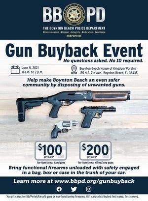 Boynton Beach police is holding a gun buyback event on June 5.