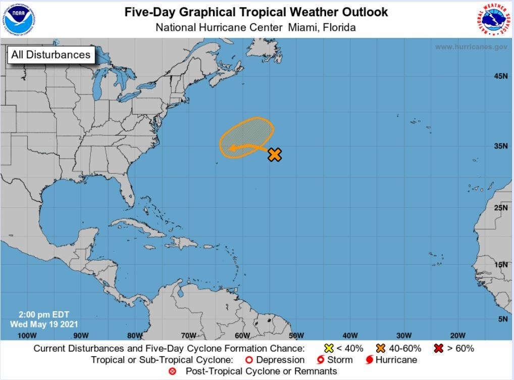 2021 Hurricane season begins with possible system northeast of Bermuda: no threat to U.S. 3