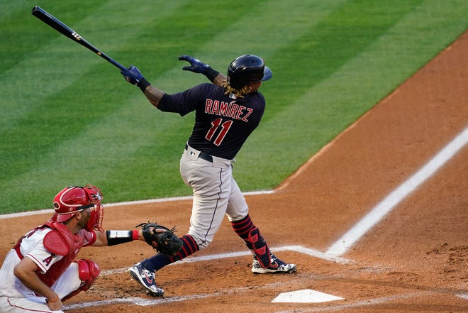 Cleveland's Jose Ramirez hits a home run during the first inning against the Los Angeles Angels on Tuesday.