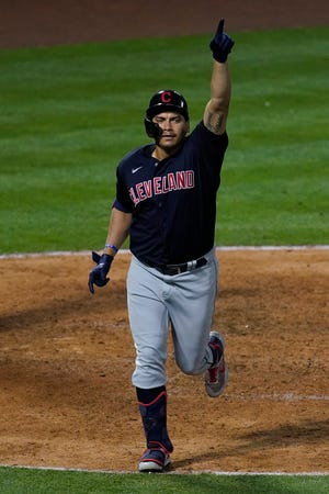 Cleveland's' Josh Naylor celebrates after hitting what turned out to be the game-winning home run in the eighth inning against the Los Angeles Angels on Tuesday, May 18, 2021, in Anaheim. (AP Photo/Ashley Landis)