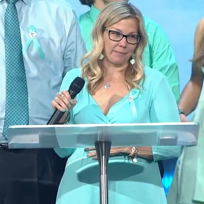 Stacy Bailey, mother of Tristyn Bailey, shares memories of her daughter at a celebration of life ceremony Tuesday, May 18, 2021, at Celebration Church in Jacksonville.