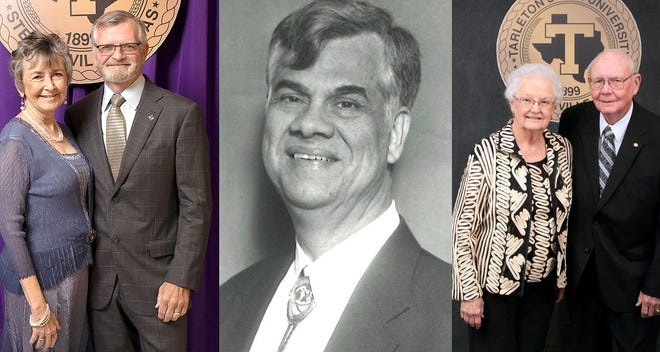 Tarleton State University today announced creation of four endowments to help meet the growing demand for STEM graduates, bolster regional economic growth and honor some of Tarleton's most distinguished faculty. Recognized faculty, from left, are Drs. Pam and Mark Littleton; Dr. Jimmy McCoy; and Dr. Lamar Johanson and his wife, Marilynn.