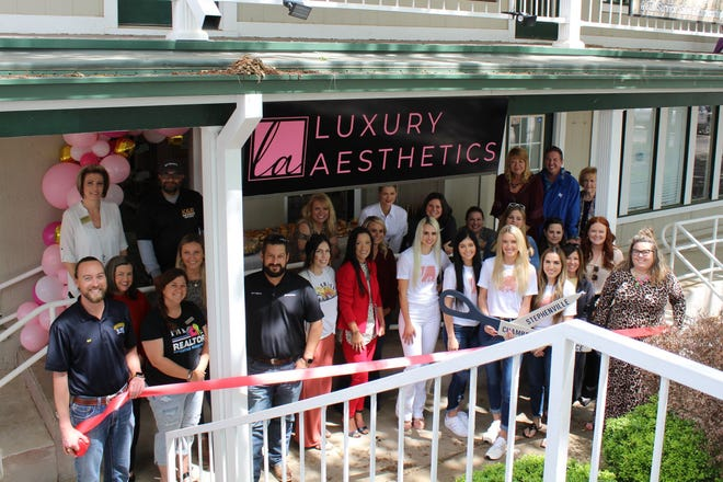 The Stephenville Chamber of Commerce welcomed new member Luxury Aesthetics with a ribbon cutting on May 4. Luxury Aesthetics is a family-owned salon specializing in lash extensions, permanent make-up, facials, spray tanning, waxing, teeth whitening, and more. Visit the salon's Instagram page @luxuryaesthetics to schedule an appointment. For more details, visit bit.ly/RC-LuxuryAesthetics.