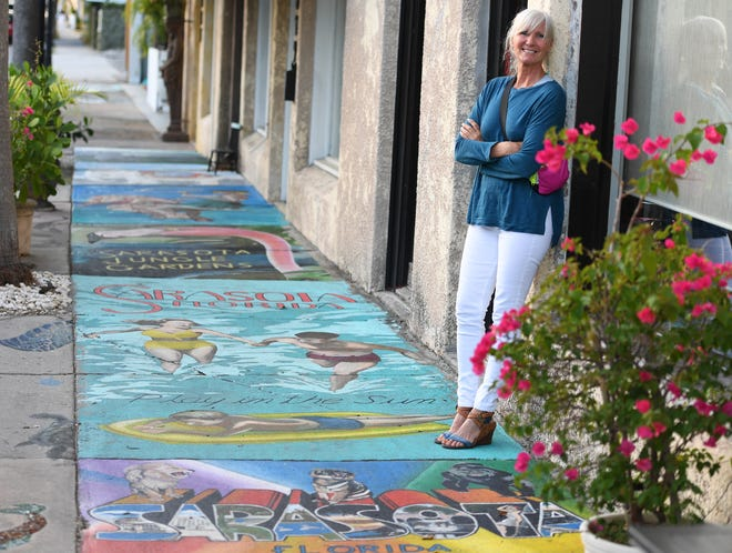 Artists funded by Avenida de Colores, the nonprofit that stages the Chalk Festival, are in the process of painting the sidewalk of South Pineapple Avenue, between the Ringling Boulevard roundabout and the intersection South Orange Avenue, to commemorate Sarasota County's centennial. Chalk Festival Director Denise Kowal said she wanted to do that instead of some sort of virtual show with the $40,000 grant it received in Tourist Development tax money.