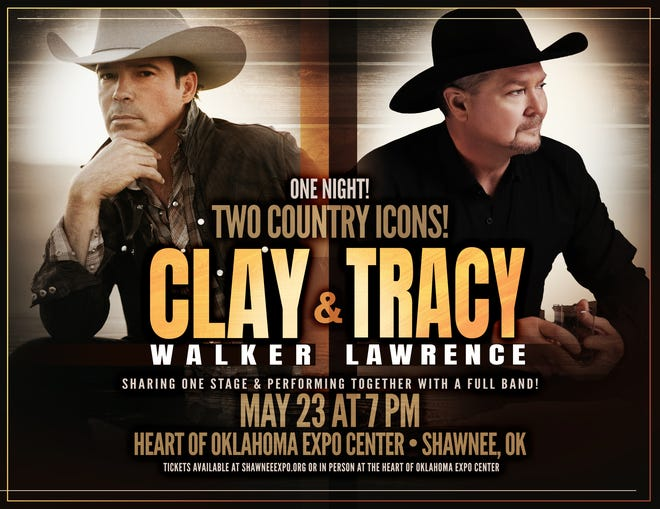 Country artists Clay Walker and Tracy Lawrence will share the stage, performing at 7 p.m. Sunday.