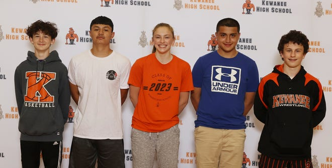 From left, J.J. Rojinsk, Cristian Cazares, Emma Crofton, Julian Quintero and William Taylor took advantage of the changing sports seasons in 2020-21, with Taylor likely being the only KHS athlete to have ever lettered in five sports in one school year.