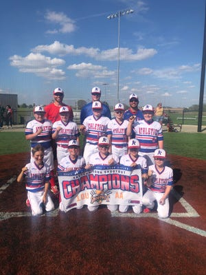 The Kewanee A's 10u Blue played recently in JP Sports' Eastern Iowa Shootout  in Bettendorf at the TBK Sports Complex. The A's won five games total and won the championship game 15-5. Team members are, front row, from left: Cainen Winter, Easton Blake, Ace LaFollette, Baylor Frankenreider and Jace Nichols. Middle row: Myer Heitzler, Reid Nichols, Jaton Huber, Pierce Childs and Eli Dennison. Back row: Coaches: Tyler Nichols, Matt Huber and head coach John Blake