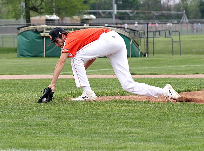 Sturgis pitcher Dalton Soergel snags a bunted pop up for an out on Tuesday against Edwardsburg.