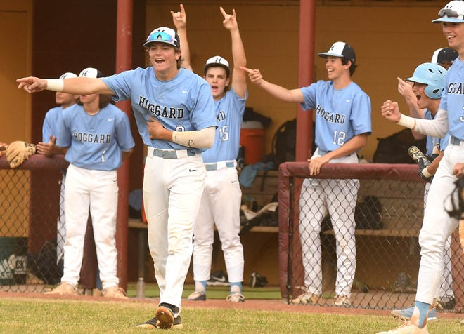 Hoggard celebrates during its comeback win over Ashley on May 18. The Vikings are on a four-game winning streak. [KEN BLEVINS/STARNEWS]