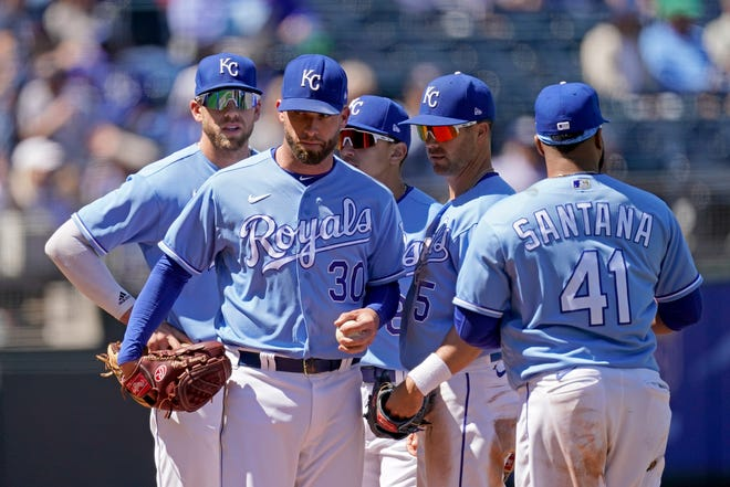 Kansas City Royals starting pitcher Danny Duffy waits to come out of the game during the sixth inning May 6 against the Cleveland Indians at Kauffman Stadium in Kansas City, Mo.