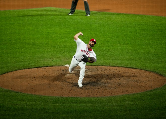 Brandon Workman delivers a pitch during the WooSox game against the Buffalo Bisons on May 18. He opted out of his minor-league deal and now the Red Sox must decide his future.