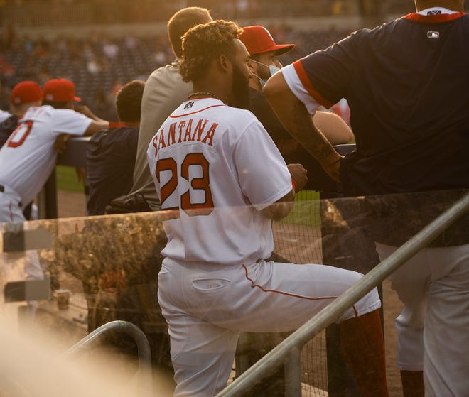 Worcester Red Sox utility man Danny Santana stands at the top of the dugout during Tuesday's game at Polar Park. Santana is reportedly headed to Philadelphia to join the Boston Red Sox for their weekend series there.