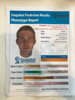 Marshall County Sheriff's Office investigators hope this image — created using DNA to predict the appearance of a 1997 murder victim — will help them to identify the man, and find his killer.