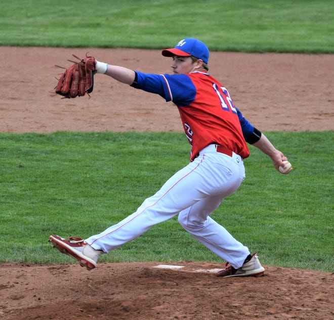 West Holmes Noah Clark delivers a pitch in a game earlier this season.