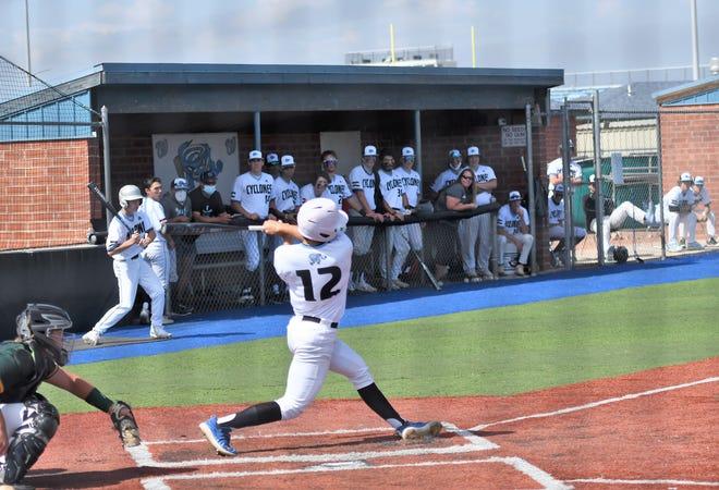 Pueblo West sophomore Gage Martinez bats in a game against Pueblo County May 15, 2021.