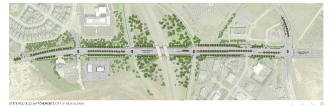The city of New Albany will spend $6.8 million in improvements to the interchange at state Route 161 and U.S. Route 62.